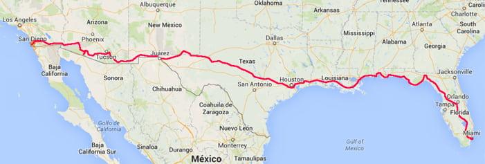 Mapa de la Ruta de Miami a San Diego en Moto